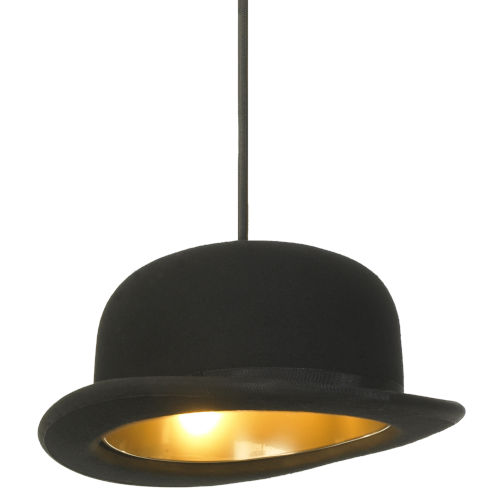 Jeeves and Wooster Black Felt and Gold Interior One-Light Mini-Pendant