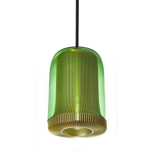 Dub Green and Pale Gold One-Light Mini Pendant