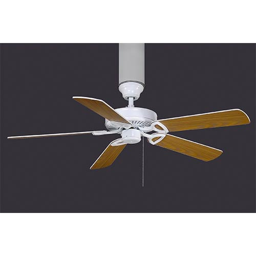 Made in America White 52-Inch Energy Star Ceiling Fan with 15 Degree Blade Pitch