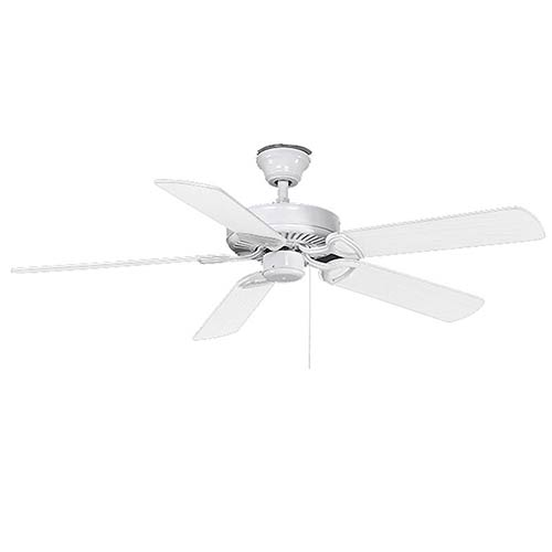 Made in America White 52-Inch  Ceiling Fan with White Blades and Fluorescent Light Kit
