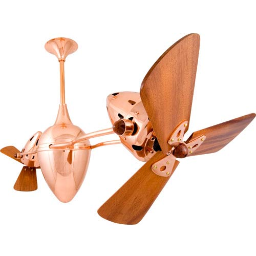Ar Ruthiane Polished Copper 48-Inch Ceiling Fan with Mahogany Blades
