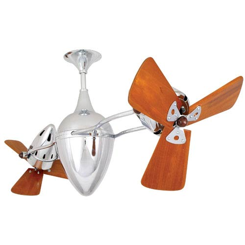 Ar Ruthiane Polished Chrome 48-Inch Ceiling Fan with Mahogany Blades