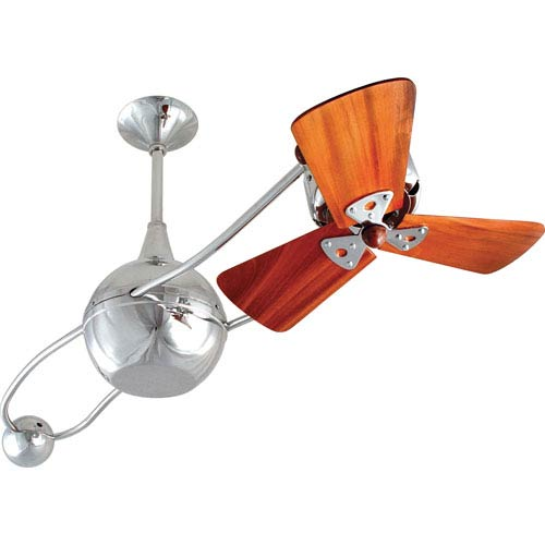 Matthews Fan Brisa 2000 Polished Chrome 40-Inch Ceiling Fan with Mahogany Blade