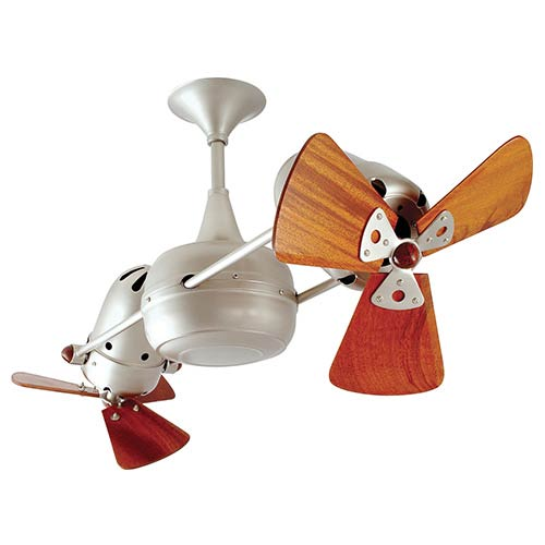 Matthews Fan Duplo Dinamico Brushed Nickel 36-Inch Rotational Ceiling Fan with Wood Blades