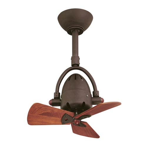 Atlas Fan Diane Textured Bronze Ceiling Fan with Wood Blades