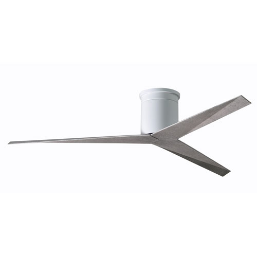 Eliza Gloss White Paddle Flush Mount Ceiling Fan with Barn Wood Blades