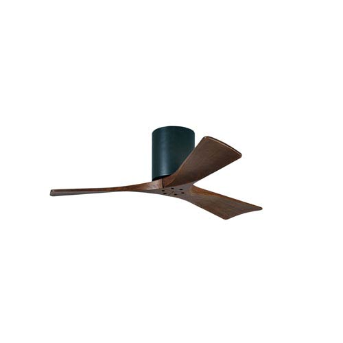 Irene-H 3 Matte Black 42-Inch Hugger-Style Ceiling Fan with Walnut Tone Blades
