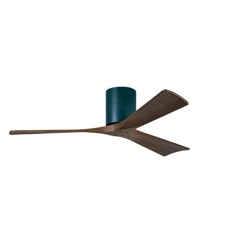 Irene-H 3 Matte Black 52-Inch Hugger-Style Ceiling Fan with Walnut Tone Blades