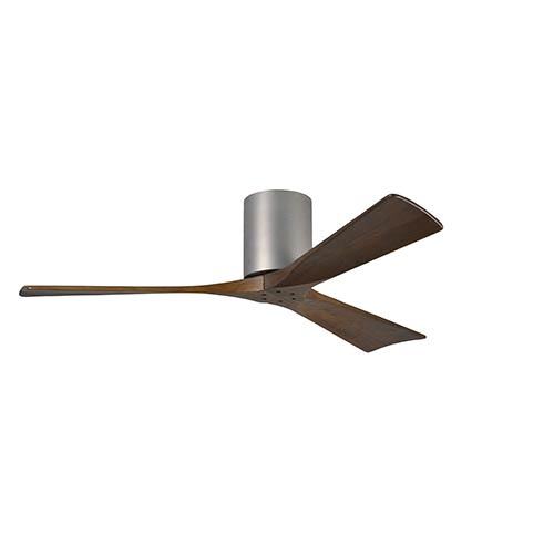 Irene-H 3 Brushed Nickel 52-Inch Hugger-Style Ceiling Fan with Hugger Canopy and Wood Blades