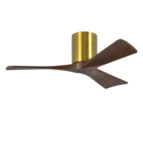 Irene-H Three Blade Brushed Brass 42-Inch Hugger-Style Ceiling Fan