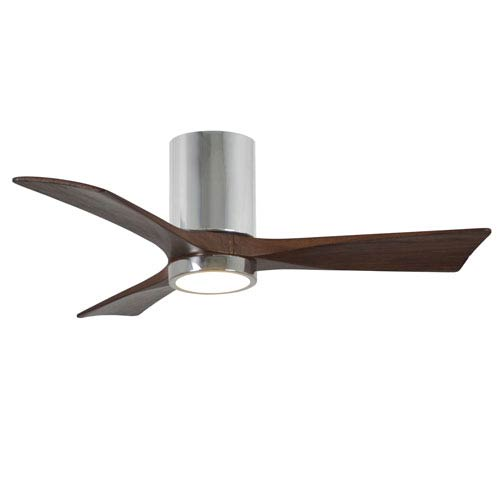 Irene-H Three Blade Polished Chrome 42-Inch LED One-Light Hugger-Style Ceiling Fan