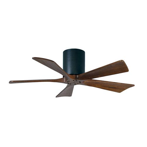 Irene-H 5 Matte Black 42-Inch Hugger-Style Ceiling Fan with Walnut Tone Blades
