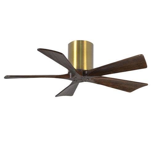 Irene-H Five Blade Brushed Brass 42-Inch Hugger-Style Ceiling Fan