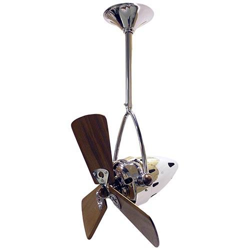Matthews Fan Jarold Directional Polished Chrome 16-Inch Ceiling Fan with Wood Blades