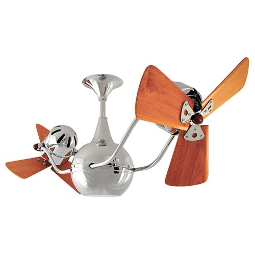 Vent-Bettina Polished Chrome 44-Inch Rotational Ceiling Fan with Wood Blades