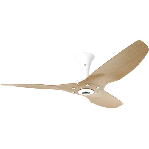 Haiku White 52-Inch Low Profile Smart Ceiling Fan with Caramel Bamboo Blades
