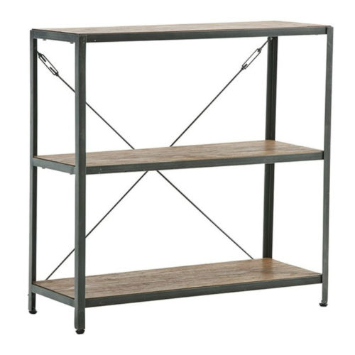 Shelly Steel and Gray 39-Inch Teak Free Standing Shelf