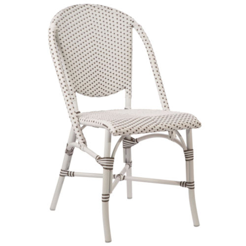 Sofie White and Cappuccino Outdoor Dining Chair