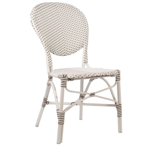 Isabell White and Cappuccino Outdoor Dining Chair