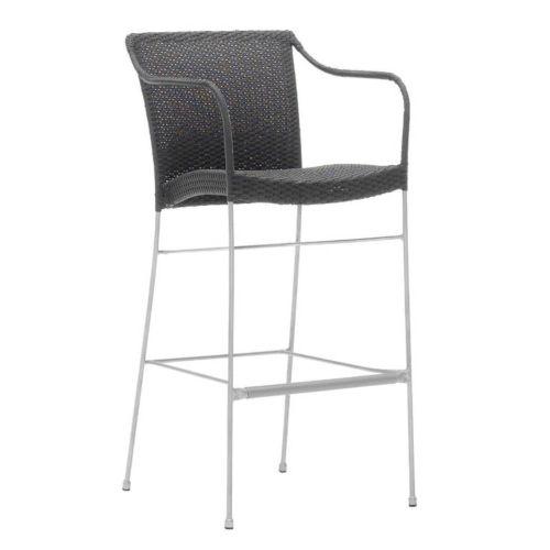 Pluto Teak Gray Bar stool