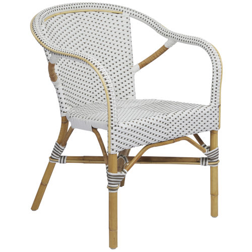 Madeleine White and Cappuccino Bistro Arm Chair