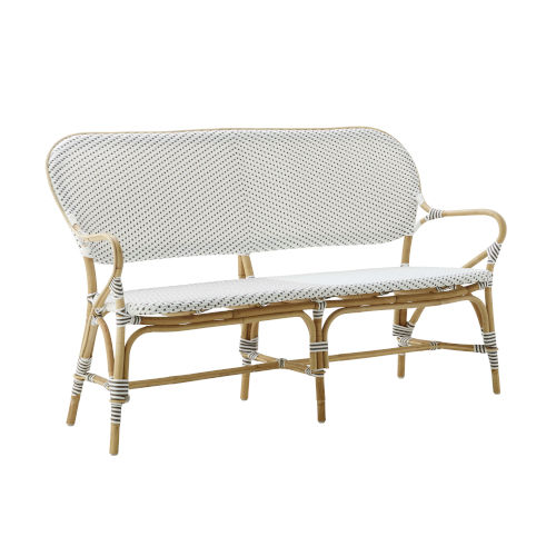 Isabell White and Cappuccino Outdoor Rattan Bench