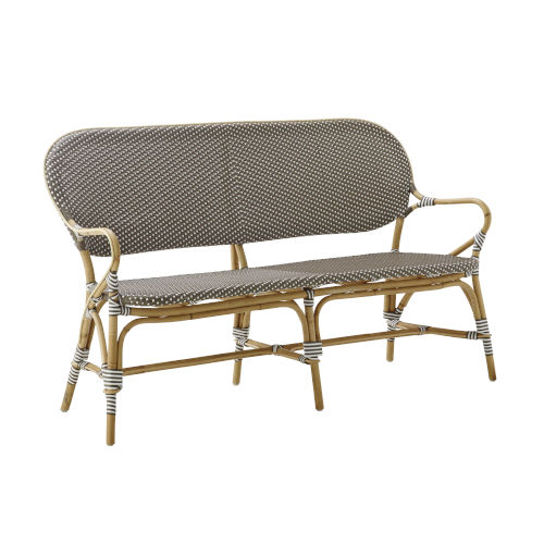 Isabell Cappuccino and White Outdoor Rattan Bench