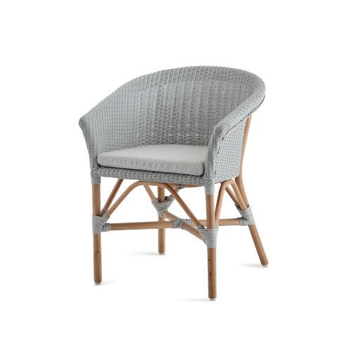 Abbey Light Gray Chair Loom with Sunbrella Sailcloth Seagull Cushion