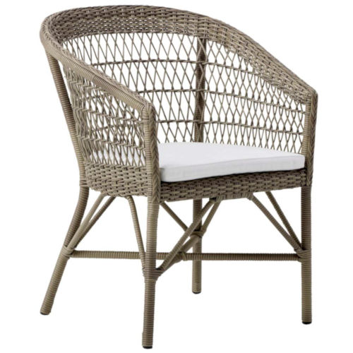 Emma Antique and White Outdoor Dining Chair with Tempotest White Canvas Cushion