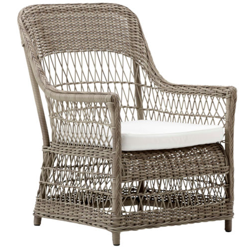 Dawn Antique and White Outdoor Lounge Chair with Tempotest Canvas Cushion
