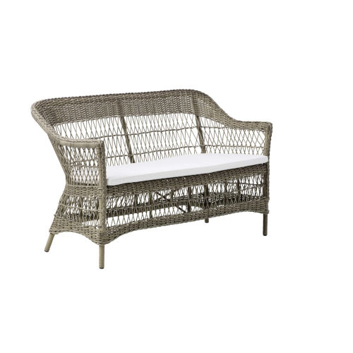 Charlot Antique and White Outdoor Two-Seater Sofa with Tempotest Canvas Cushion