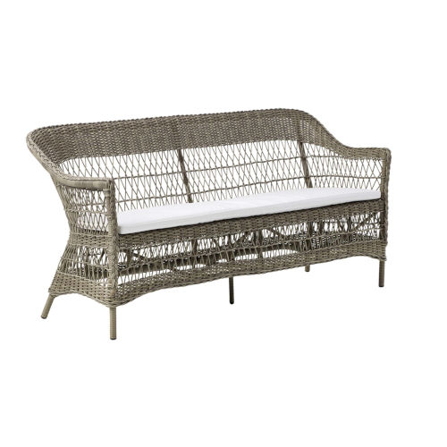 Charlot Antique and White Outdoor Three-Seater Sofa with Tempotest Canvas Cushion