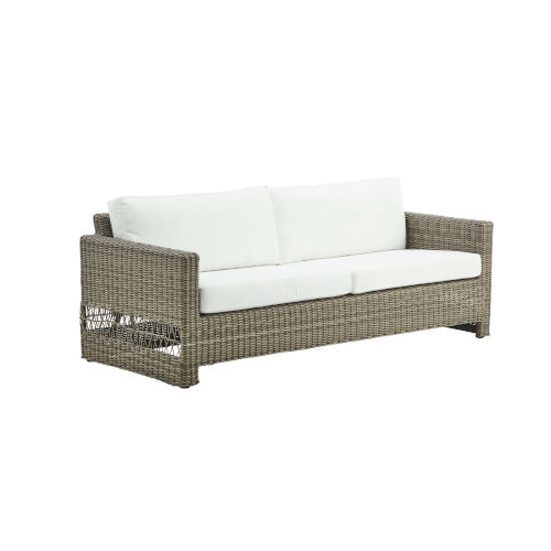 Carrie Antique and White Outdoor Three-Seater Sofa with Tempotest Canvas Cushion
