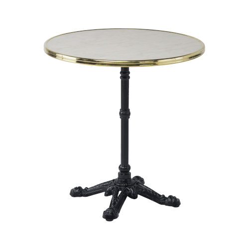 Alu Affaire Black Bistro Outdoor Table with White Faux Marble Top and Brass Strapping