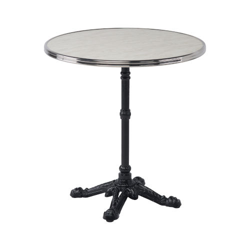 Alu Affaire Black Bistro Outdoor Table with White Faux Marble Top and Chrome Strapping