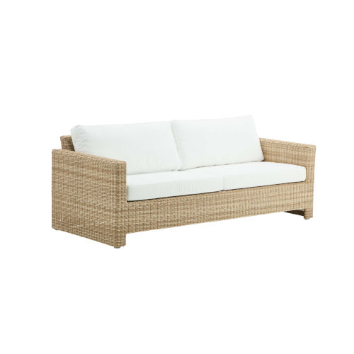 Sixty Natural and White Outdoor Three-Seater Sofa with Tempotest Canvas Seat and Back Cushion