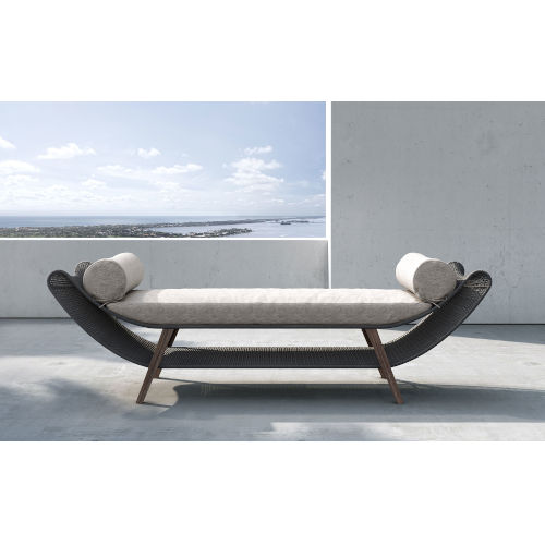 Reverie Feather Gray Fabric Outdoor Bench