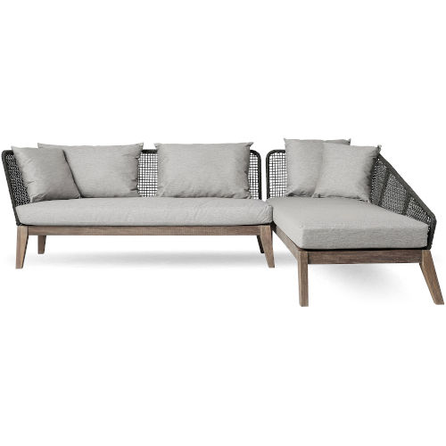 Netta Feather Gray Fabric Outdoor Sectional Right-Facing Sofa