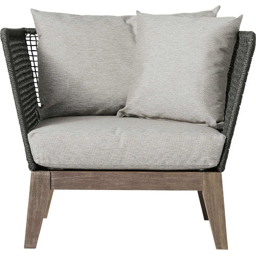 Netta Feather Gray Fabric Outdoor Lounge Chair