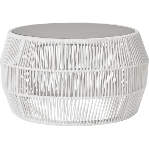Volta White Cord Outdoor Cocktail Table