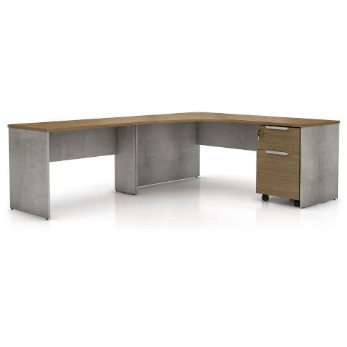 Broome Latte Walnut 95-Inch Left Corner Desk