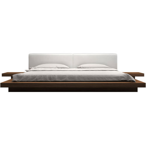 Worth White Eco Leather and Walnut Bed