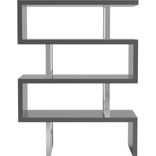 Pearl Glossy Dark Gull Gray Bookcase