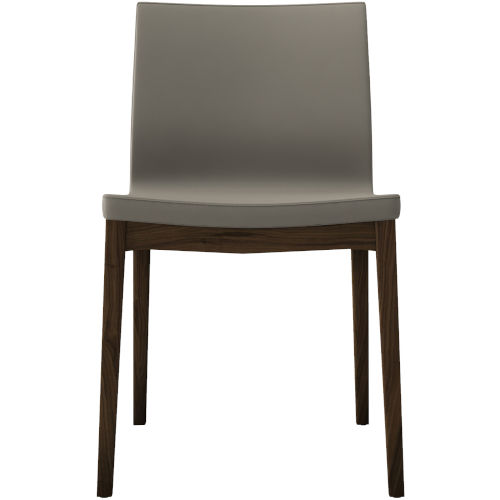 Enna Dove Gray Eco Leather and Walnut Dining Chair