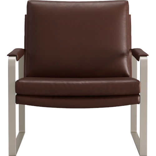 Charles Brunette Vintage Leather Lounge Chair