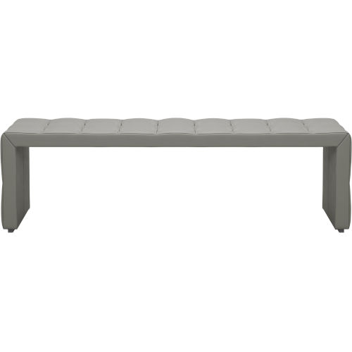 Broad Warm Gray Leather Bench