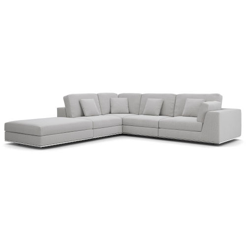 Perry Gris Fabric One Arm Open Right-Facing Corner Sofa