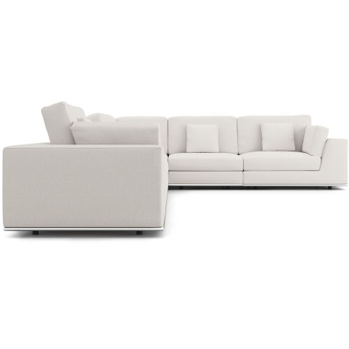 Perry Chalk Fabric Two Arm Extended Corner Sofa