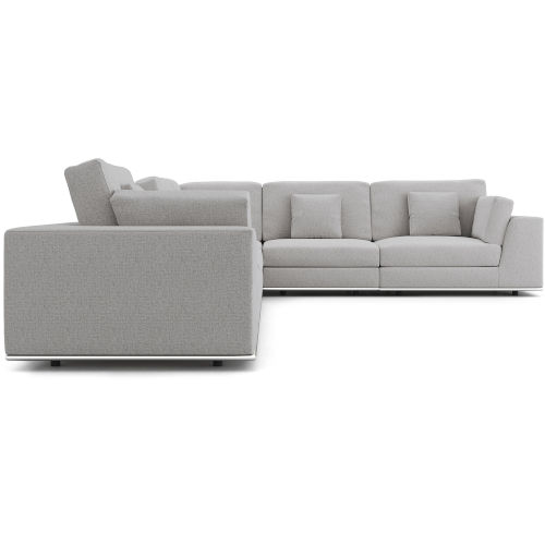 Perry Gris Fabric Two Arm Extended Corner Sofa