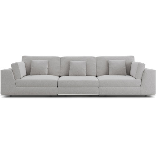 Perry Gris Fabric Sectional Three Seat Sofa